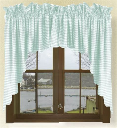 Mint Green Scalloped Window Swag Valance with White Lining