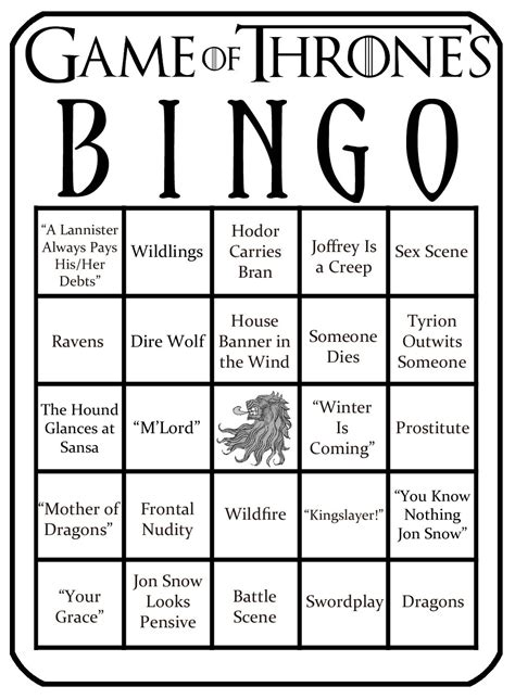 game  thrones bingo   tube zimbio