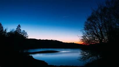 Night Sunset Landscape Sky Dark Lake Trees
