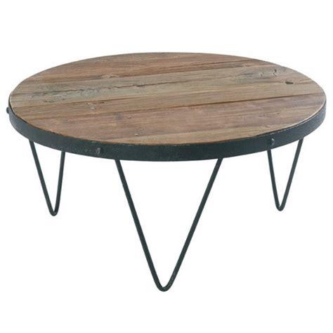 galettes de chaise table basse ronde loft cross bois et fer casita les
