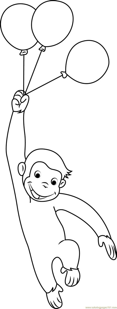 curious george  balloons coloring page  curious george coloring pages