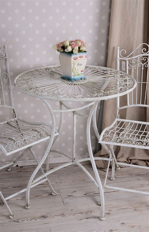 shabby chic patio furniture vintage wrought iron garden furniture set shabby chic garden table and 2 chairs ebay