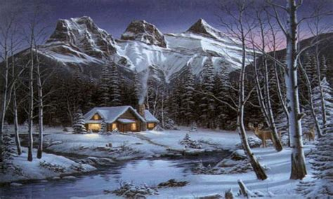 paintings  cabins winter cabin paintings cabin