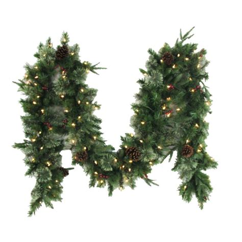 12 ft syracuse cashmere berry artificial garland with 100