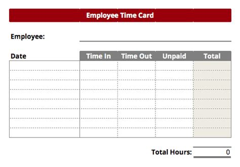 Time Card Template Timecard Templates Excel Find Word Templates