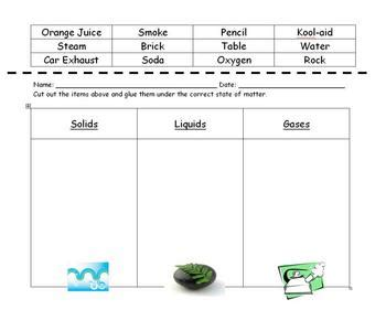 states of matter sorting worksheet by amanda cassella tpt