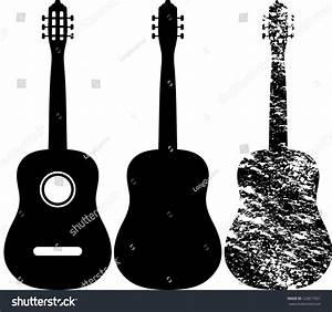 Black Silhouette Acoustic Guitar Stock Vector 122617051 ...