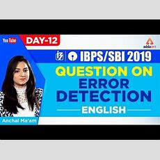 Ibpssbi 2019  Tips To Solve Error Detection  English  Day 12  Anchal Ma'am  10 Am Youtube