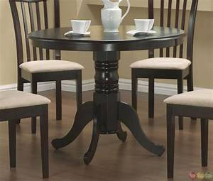 5 Piece Casual Microfiber Fabric Round Dining Room Set