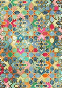 Gilt & Glory - Colorful Moroccan Mosaic Art Print by