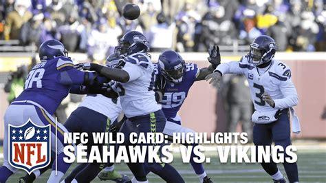 seahawks  vikings nfc wild card highlights nfl