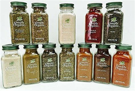 Organic Spice Rack by New Simply Organic Gourmet Starter 12 Spices Gift Set Free