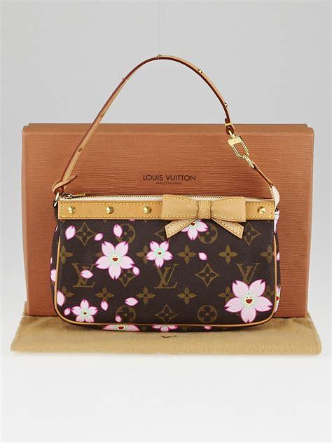 louis vuitton limited edition cherry blossom monogram canvas accessories pochette bag yoogis