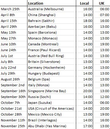 The start times for this year's 20 Formula 1 races have been confirmed.