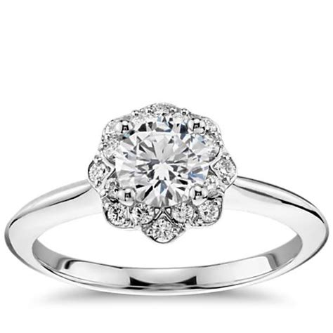 floral halo engagement ring in 14k white gold 1 10 ct tw blue nile