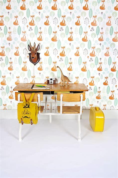 perfect accent wall vosjes behang fox wallpaper