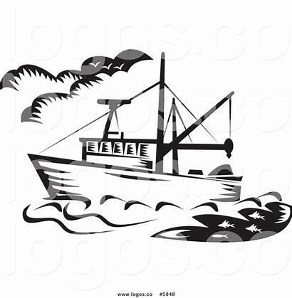 Boat Fishing Vector Clipart Royalty Ship Fish