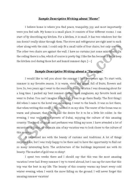 descriptive paragraph sle esl worksheet by sotheara