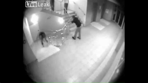 security camera footage  drunk guy falling  stairs