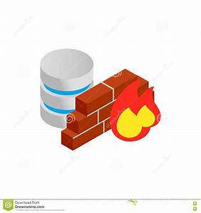Database And Firewall With Chart Icon Stock Vector