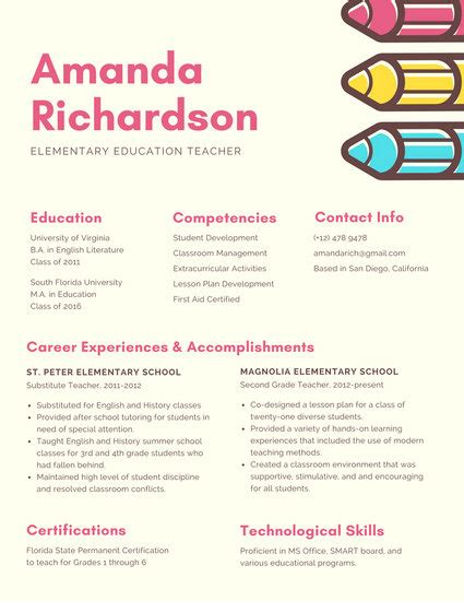 cream pencils creative resume templates  canva