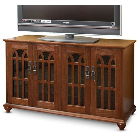 Tv Cabinet With Doors by Mission Style Tv Cabinet With Inlaid Glass Doors