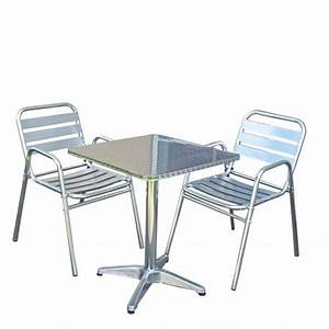 Table De Bistrot 2 Chaises Aluminium Terrasse MDJ04023 Dcoshop26