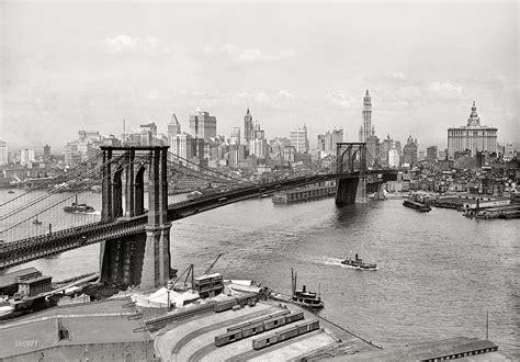 New York Circa 1915 Brooklyn Bridge East River And