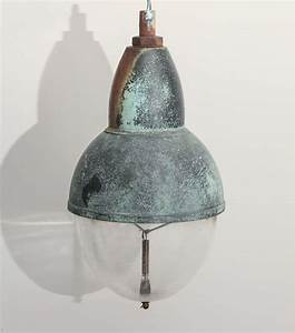 Vintage copper pendant light with glass shade for sale at