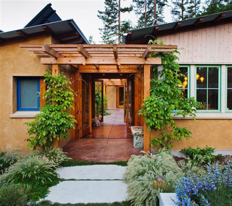 small house plans with courtyards vine hill road straw bale residence contemporary entry