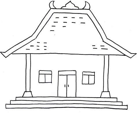 gambar mewarnai hitam putih rumah adat jawa anak sd tk