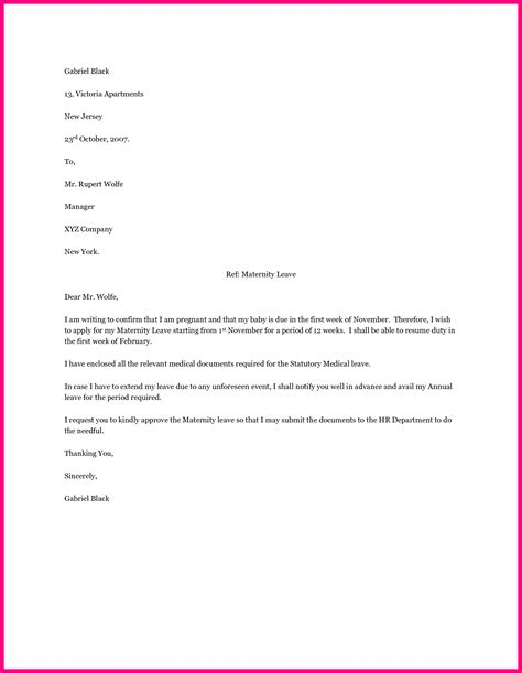 employee maternity leave letter sample application format