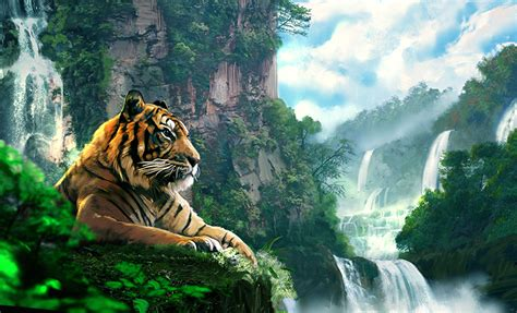Waterfalls Wallpaper With Animals - picture tigers waterfalls animals painting