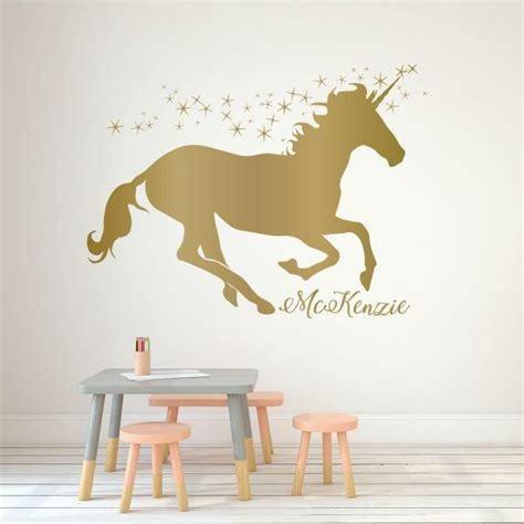 unicorn wall decor personalized vinyl decal  girls