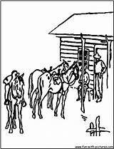 Ranch Coloring Pages Template Cowboys Range sketch template