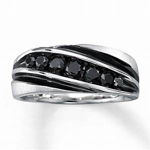 Kay men39s black diamond ring 3 4 ct tw round cut 10k for Men black diamond wedding ring