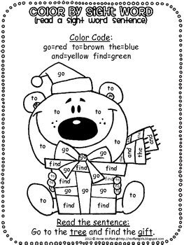 christmas color  sight word sentences  bundle