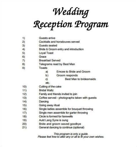 wedding reception program template free olivia s wedding