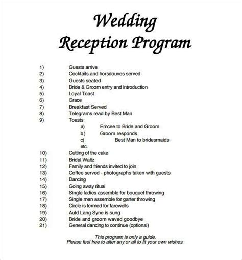 wedding reception program template  wedding