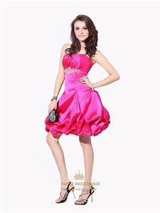 Hot Pink Strapless Beaded Taffeta Cocktail Dress With ...