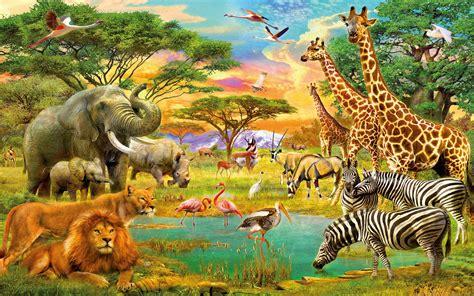 african animals jungle lion zebra giraffe elephants