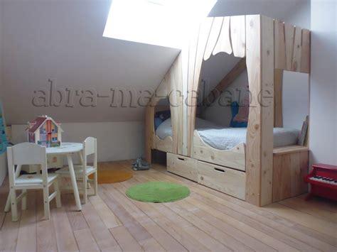 chambre bébé bois naturel lit cabane en bois sur mesure pour enfant abra ma cabane