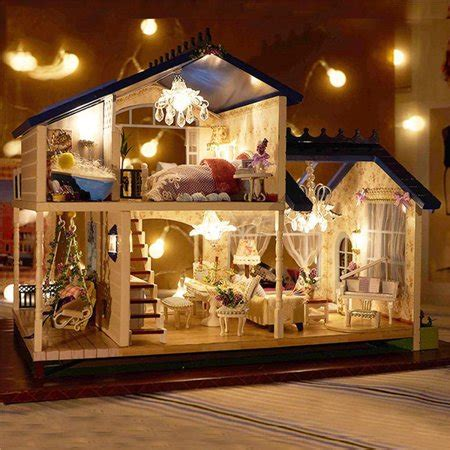 Read customer reviews & find best sellers. Music & LED Light Miniature Provence Dollhouse DIY Kit ...