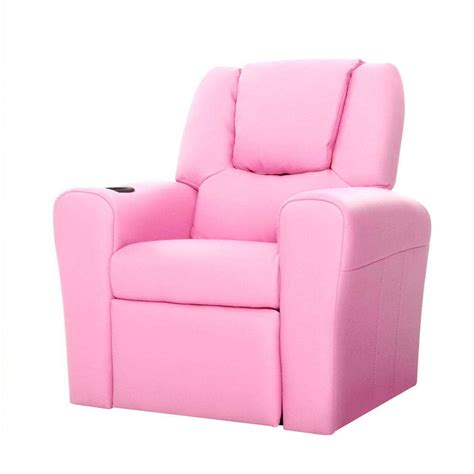 kids pu leather reclining arm chair pink