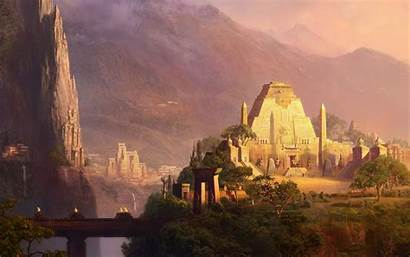 Ancient Chinese Mountain Temples Valley Fantasy Temple