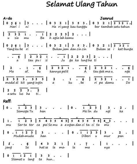 not angka janjimu seperti fajar not angka pianika lagu selamat ulang tahun jamrud