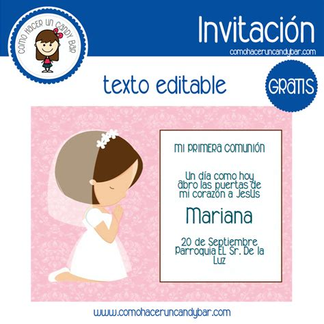 invitacion de primera comunion en power point invitaci 243 n editable gratis primera comuni 243