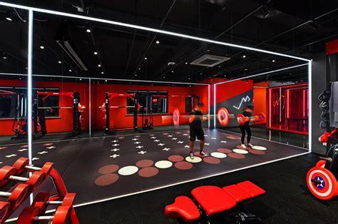gym fitness shanghai interior design red box light
