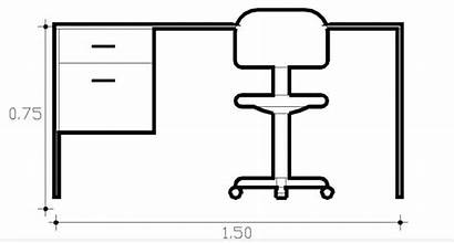 Office Desk Drawing Simple Elevation Chair Block