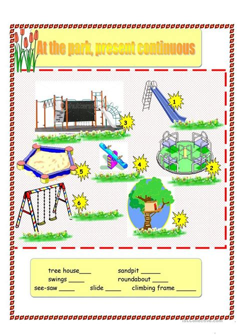park present continuous  sheets worksheet